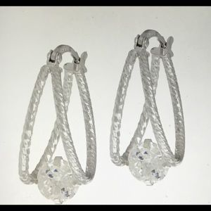100-Facet DIAMONIQUE Split Hoop Earrings .925 SS